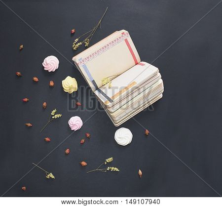 Open diary, dry flowers, roses, meringues. Flat lay composition, still life. Melancholy romantic working space, top view. Design decoration top view objects, details.