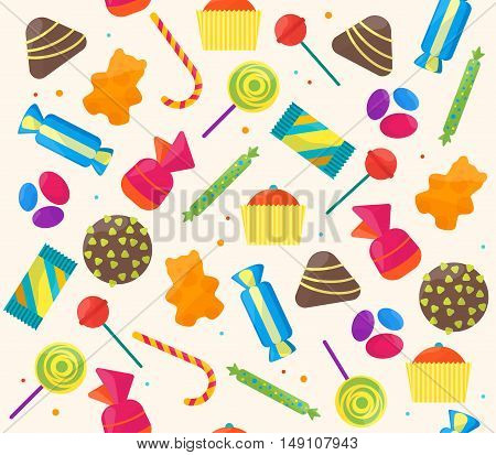 Sweet Candies Background Pattern. Flat Design Style. Vector illustration