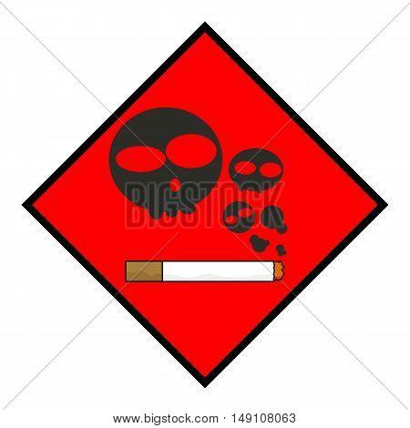 Smoking Kills Sign Flat Icon Design Illustration