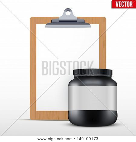 Coaching blank clipboard and sport nutrition protein container. Diet schedule. Editable Vector illustration Isolated on white background.
