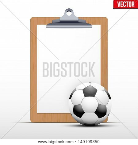 Coaching blank clipboard and football ball. Editable Vector illustration Isolated on white background.
