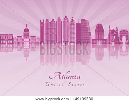 Atlanta skyline in purple radiant orchid in editable vector file