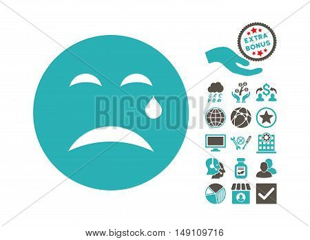 Cry icon with bonus elements. Vector illustration style is flat iconic bicolor symbols grey and cyan colors white background.