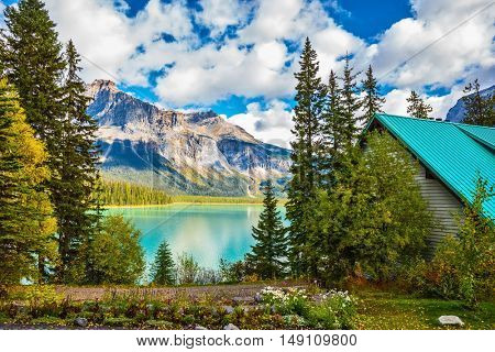 Yoho National Park, Canada. The concept of eco-tourism and adventure tourism. Camping at Lake Emerald