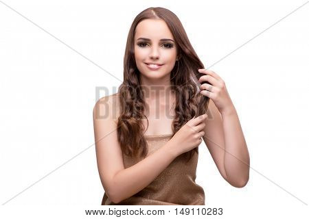 Young woman with beautiful hair isolated on white