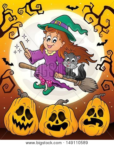 Halloween theme with cute witch and cat - eps10 vector illustration.