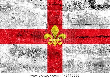 Flag Of Lincoln City, England, Uk, Painted On Dirty Wall