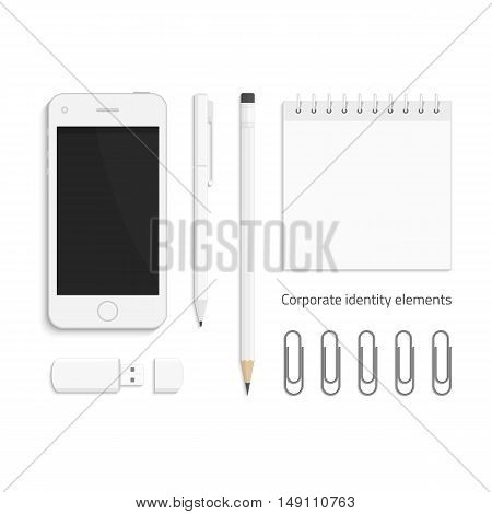 Vector templates of corporate identity. Branding design. Business stationery mock-up. Notebook, pencils, pen, USB flash drive, paper clip and realistic smart phone. Illustration eps10.