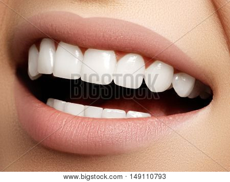 Beautiful Smile With Whitening Teeth. Dental Photo. Macro Closeu