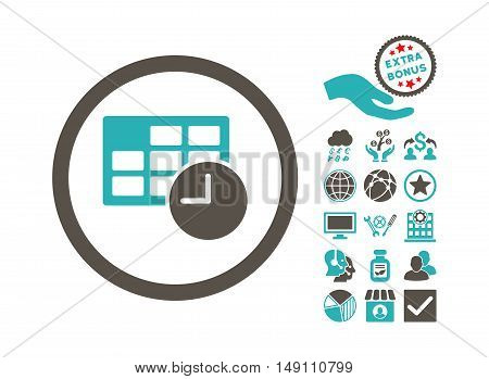 Date and Time pictograph with bonus symbols. Vector illustration style is flat iconic bicolor symbols grey and cyan colors white background.