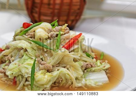 stir-fried mixed vegetables with chicken and spring onion