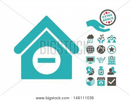 Deduct Building icon with bonus pictogram. Vector illustration style is flat iconic bicolor symbols grey and cyan colors white background.