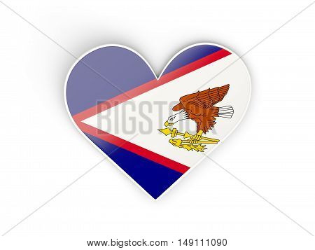 Flag Of American Samoa, Heart Shaped Sticker