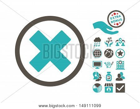 Delete X-Cross icon with bonus symbols. Vector illustration style is flat iconic bicolor symbols grey and cyan colors white background.