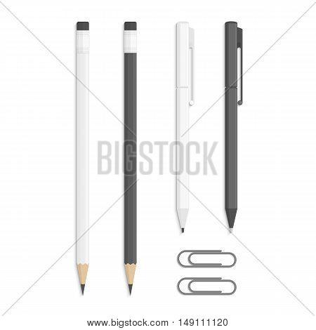 Vector illustration of pencil, pen and paper clip. Realistic style.