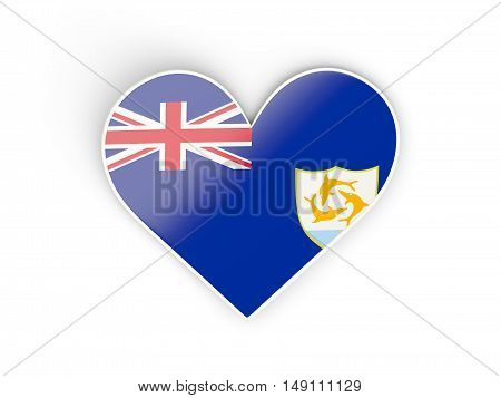 Flag Of Anguilla, Heart Shaped Sticker