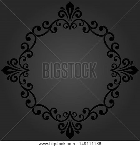 Elegant vector dark round ornament in the style of barogue. Abstract traditional pattern with oriental elements