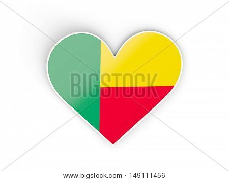 Flag Of Benin, Heart Shaped Sticker