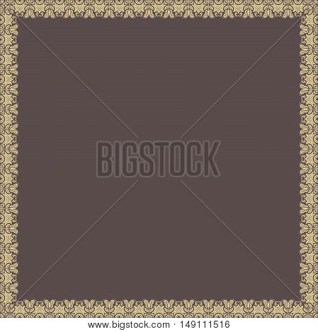 Classic vector golden square frame with arabesques and orient elements. Abstract fine ornament with place for text