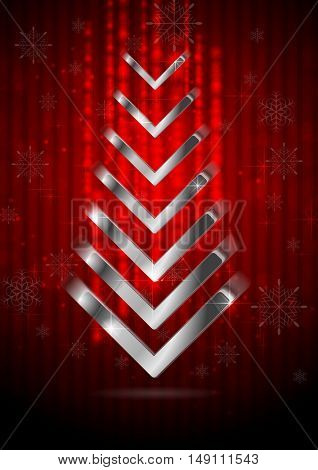 Red Christmas greeting background with silver fir tree. Vector design