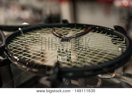 Detail Of Tennis Racket In The Stringing Machine