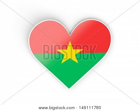 Flag Of Burkina Faso, Heart Shaped Sticker
