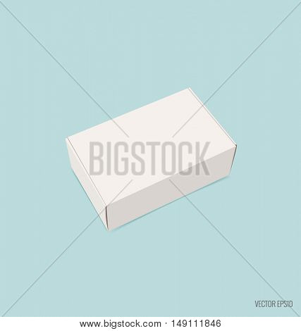 Blank white box mock up on blue background. Vector illustration.