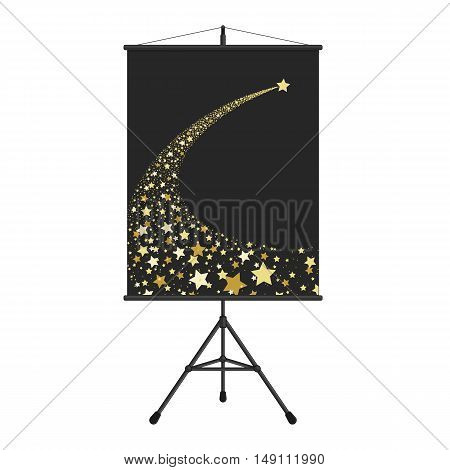 Vector illustration abstract Falling Star on presentation screen. Shooting Star with Elegant Star Trail on Dark Background - Meteoroid, Comet, Asteroid or Stars. Comet tail from stars.