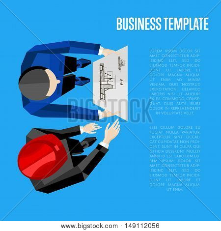 Business template, vector illustration. Top view of construction professionals discussing details of project with drawing. Two engineer builders with blueprint on blue background with space for text