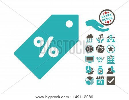 Discount Tag icon with bonus icon set. Vector illustration style is flat iconic bicolor symbols grey and cyan colors white background.
