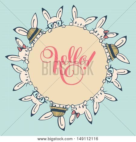 Round frame with funny bunnies. Hand-drawn illustration. Vector.
