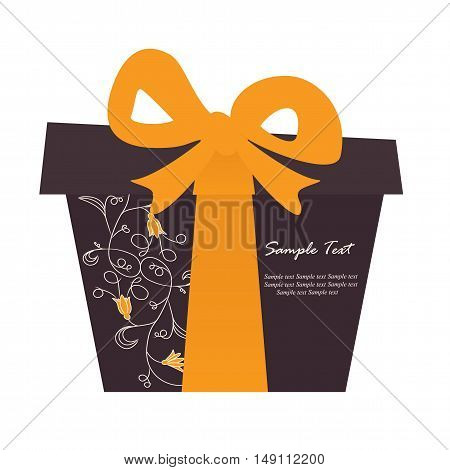 A heart gift box card. Vector illustration