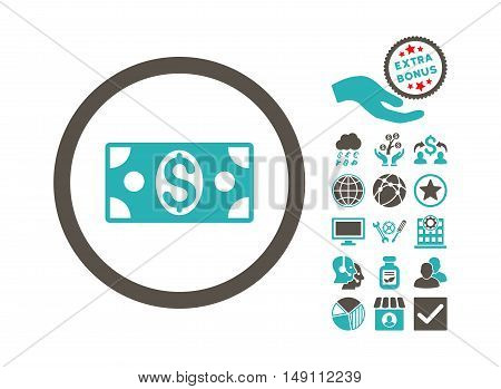 Dollar Banknote icon with bonus pictures. Vector illustration style is flat iconic bicolor symbols grey and cyan colors white background.