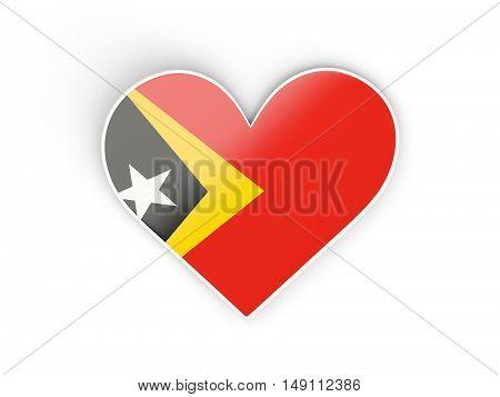 Flag Of East Timor, Heart Shaped Sticker