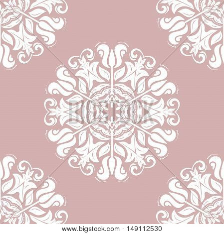 Seamless baroque vector purple and white pattern. Traditional classic orient ornament