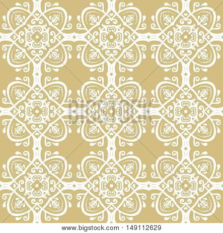 Seamless baroque vector golden and white pattern. Traditional classic orient ornament