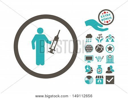 Drug Dealer pictograph with bonus pictogram. Vector illustration style is flat iconic bicolor symbols grey and cyan colors white background.