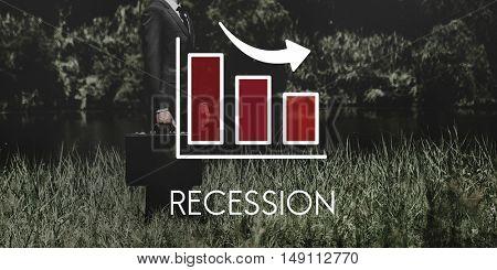 Recession Decrease Business Bar chart Concept