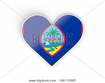 Flag Of Guam, Heart Shaped Sticker