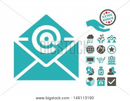 Email pictograph with bonus pictogram. Vector illustration style is flat iconic bicolor symbols grey and cyan colors white background.