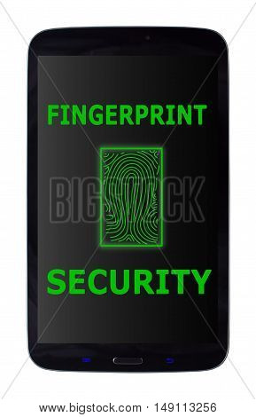 Mobile phone fingerprint security message on an isolated white background with a clipping path