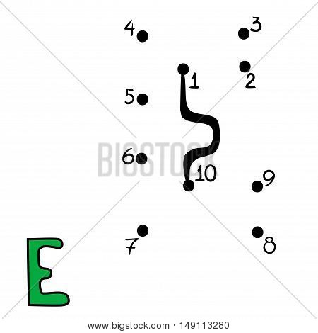 Numbers game for children, education dot to dot game, Letter  E