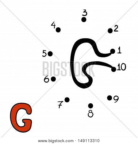 Numbers game for children, education dot to dot game, Letter  G