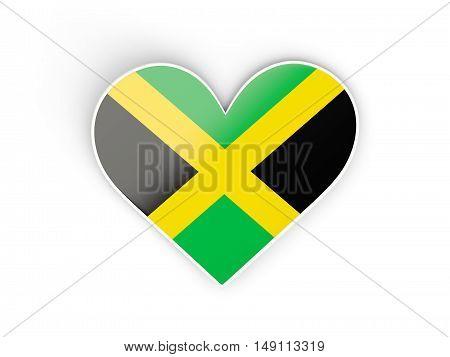 Flag Of Jamaica, Heart Shaped Sticker