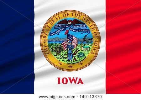 Flag of Iowa state of United States. 3D illustration