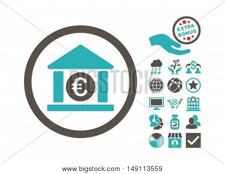 Euro Bank pictograph with bonus images. Vector illustration style is flat iconic bicolor symbols grey and cyan colors white background.
