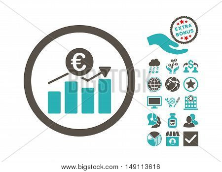 Euro Business Chart icon with bonus elements. Vector illustration style is flat iconic bicolor symbols grey and cyan colors white background.