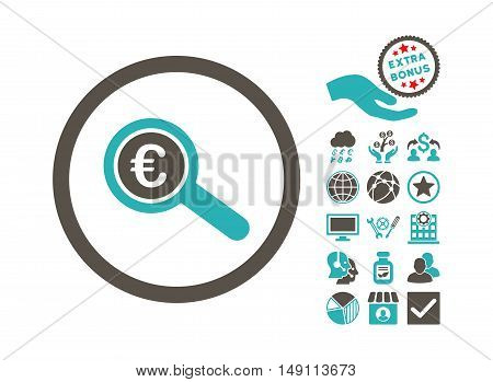 Euro Financial Audit icon with bonus icon set. Vector illustration style is flat iconic bicolor symbols grey and cyan colors white background.