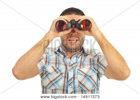 Amazed Guy Looking Into Binocular