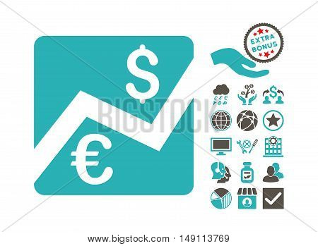 Euro Forex Market pictograph with bonus icon set. Vector illustration style is flat iconic bicolor symbols grey and cyan colors white background.